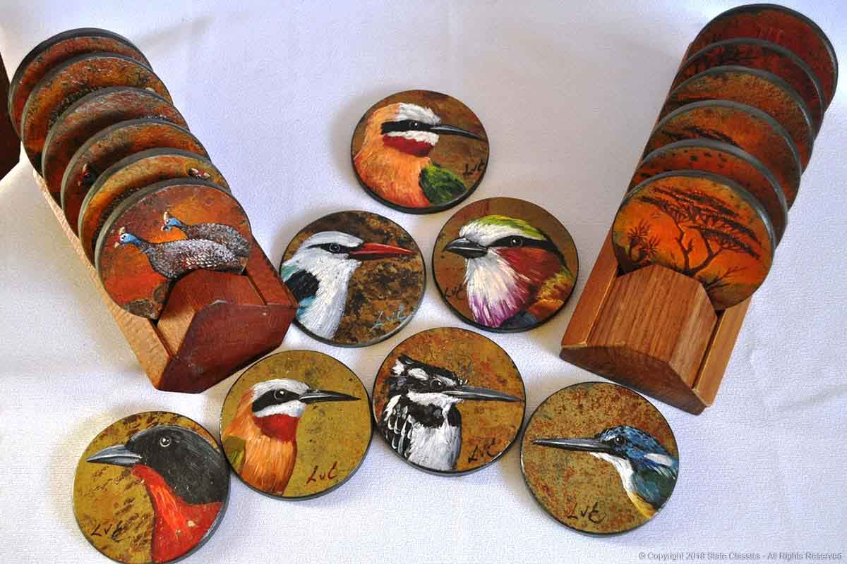 Painted slate coasters (art by Lariza)