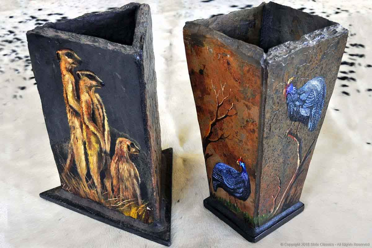 Painted slate vases (art by Lariza)