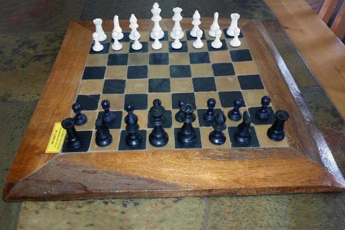 Rosa & Midnight slate chess board