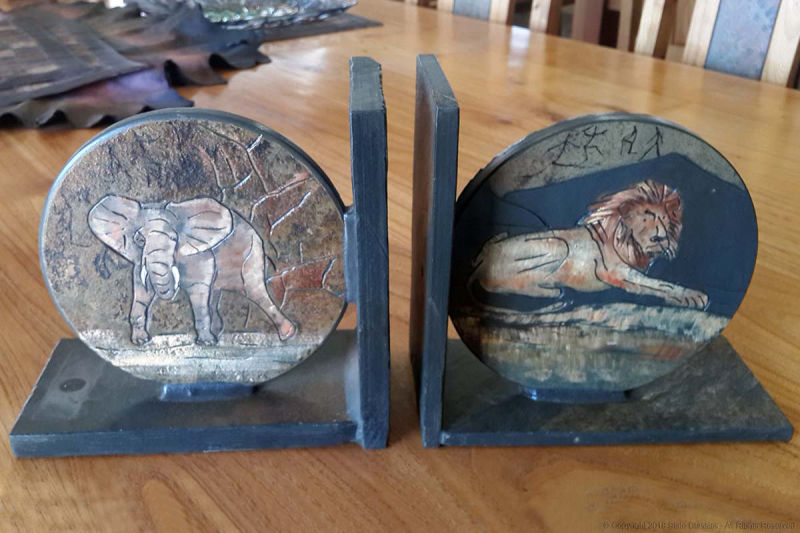 Painted slate bookends