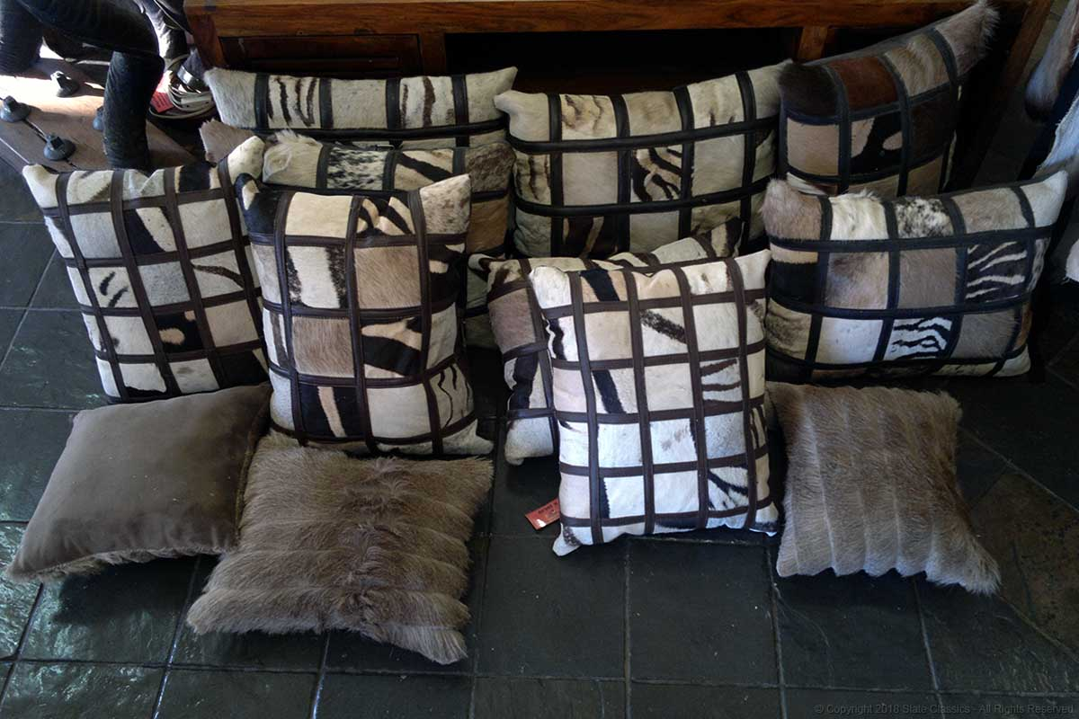 Leather & pelt pillows
