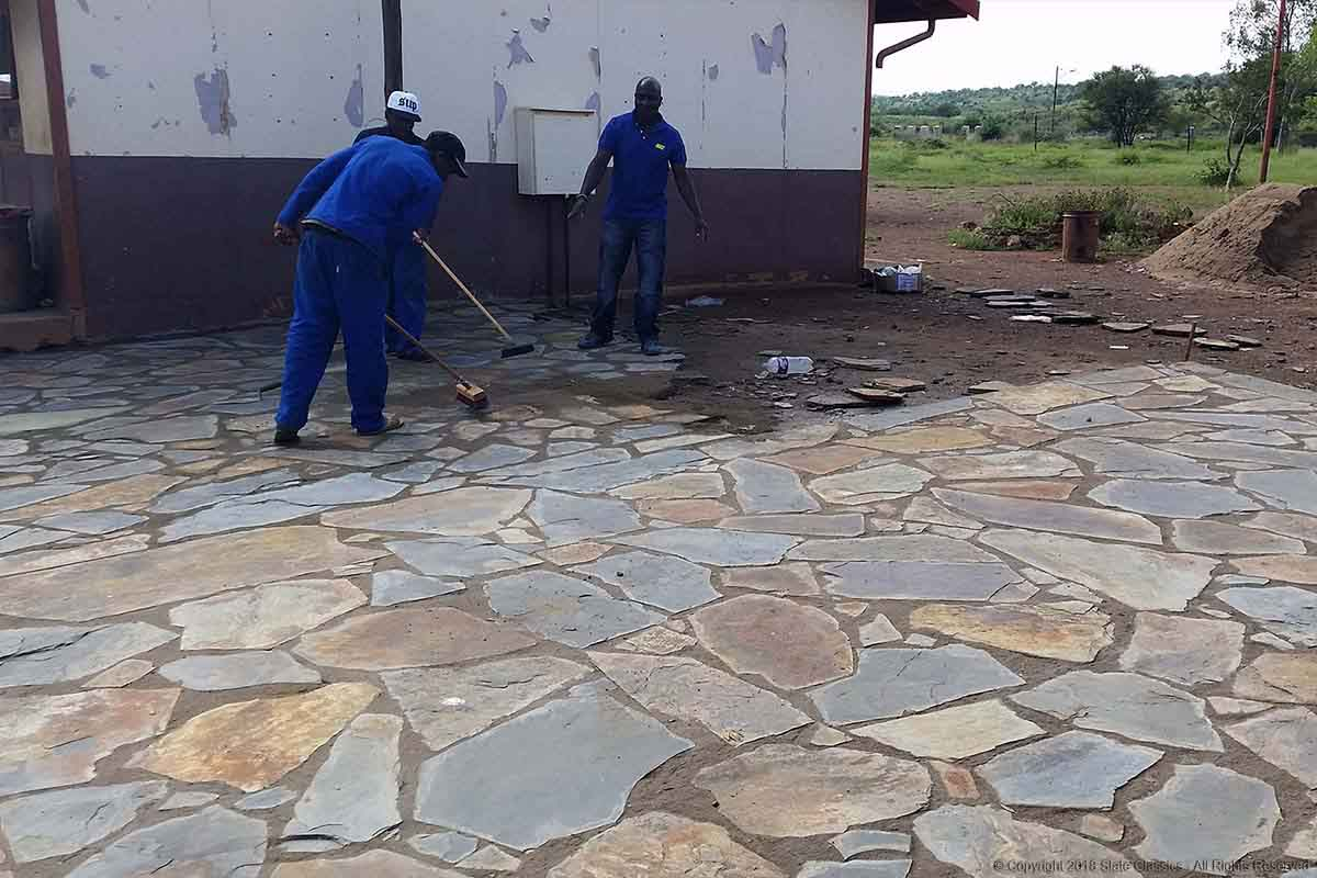 Busy laying paving