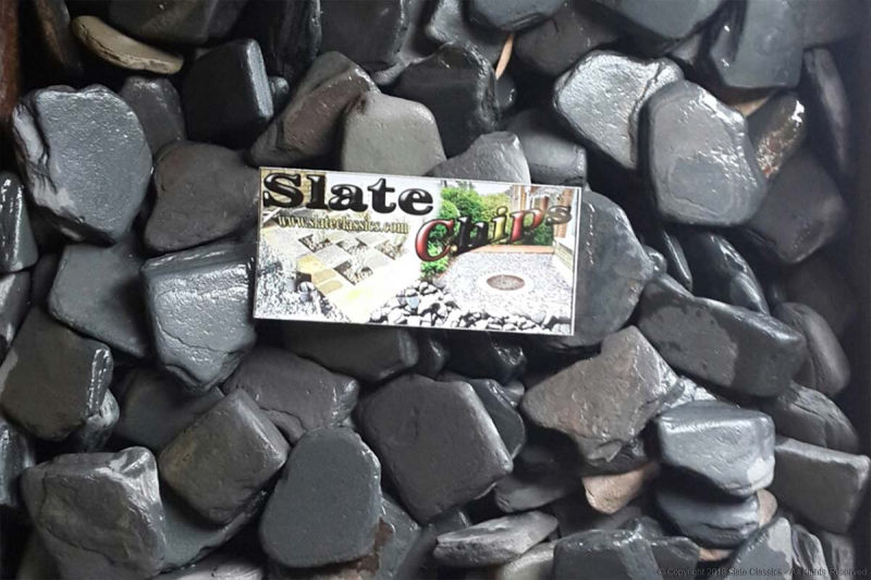 Slate chips, sized on a bussiness card